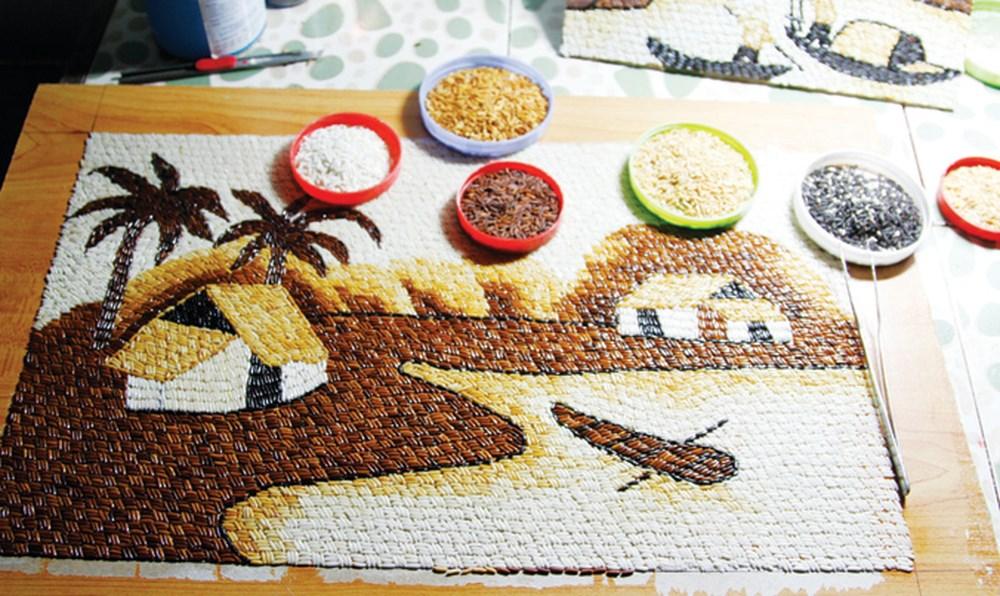 Các nguyên phụ liệu cần thiết để làm tranh gạo
