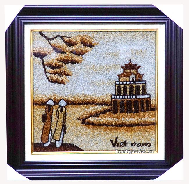 Tranh gạo tháp rùa Hà Nội