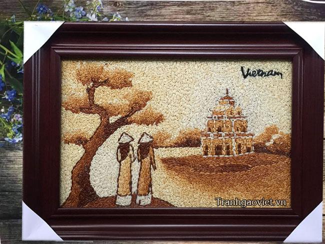 Quà lưu niệm Việt Nam| Tranh gạo Tháp Rùa