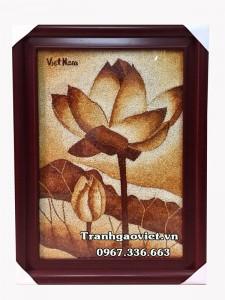 Quà lưu niệm Việt Nam Tranh gạo hoa sen