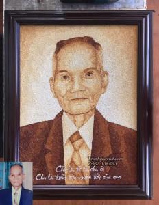 Quà tặng cha | Tranh gạo chân dung